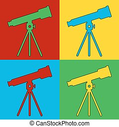 Pop art telescope symbol icons Vector illustration