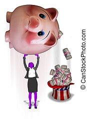 Shaking the Piggy Bank.