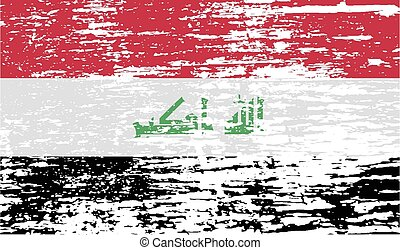 Flag of Iraq with old texture. Vector illustration