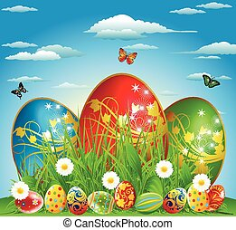 Easter eggs in the meadow with flow - Eggs on a green glade,...