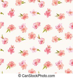 Spring Blossom Flowers Background - Seamless Floral Shabby...