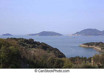 Palmaria and Tino islands in front of La Spezia
