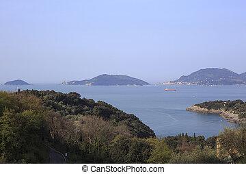 Palmaria and Tino islands in front of La Spezia