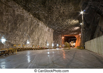 salt mine - inside view of salt mine
