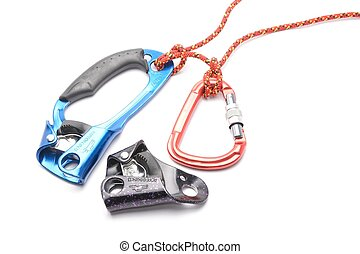 the croll chest ascender isolated on white. Climbing tool.