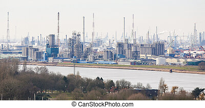 View on an oil refinery in the port of Antwerp, Belgium...