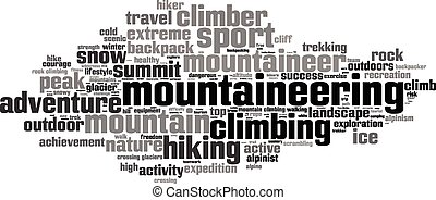 Mountaineering word cloud concept Vector illustration