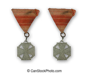 ancient medal with red ribbon from 1916