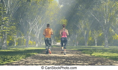 Couple running in a sunny forest - Man and woman jogging in...