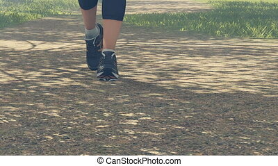 Runners feet in running shoes - Extreme close up of jogger...
