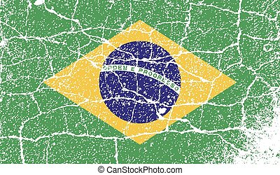 Flag of Brazil with old texture. Vector