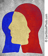 two colored head slihouette  psychology concept