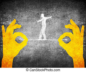 orange hands and tightrope walker