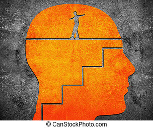 head with staircase and tightrope walker digital...