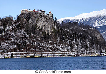 Lake Bled with the Castle Bled, Slovenia - Winter landscape...