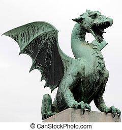 Dragon statue in Ljubljana, Slovenia - Famous Dragon statue...