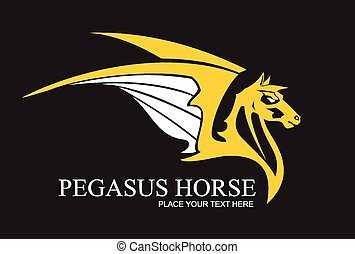 Yellow pegasus horse, combine with text. suitable for team...