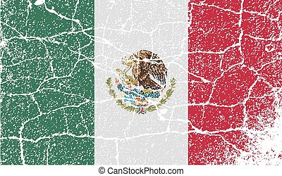 Flag of Mexico with old texture. Vector illustration