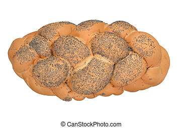 Challah - Fresh challah bread isolated on white background....