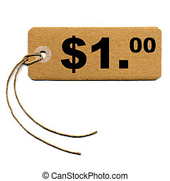 Tag label - Price tag with string isolated over white - 1...