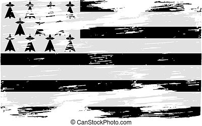 Flag of Brittany with old texture Vector illustration