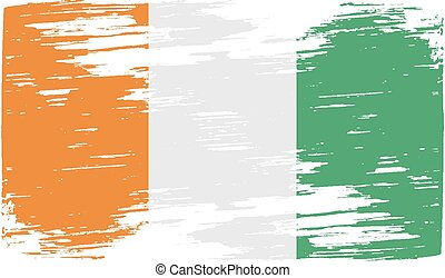 Flag of Cote divoire with old texture Vector illustration