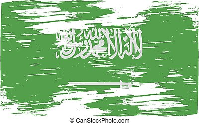 Flag of Saudi Arabia with old texture. Vector illustration