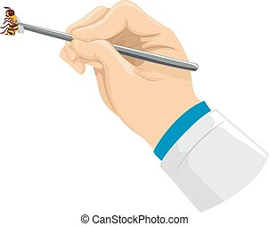 Hand Doctor Tweezers Bee - Illustration of a Doctor Using a...