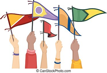 Hands College Flags - Cropped Illustration of Students...