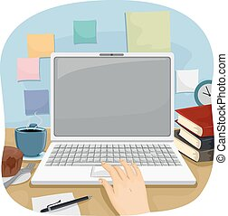 Hands Laptop Work - Cropped Illustration of a Person Using a...