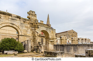 Ruins of roman theatre in Arles - UNESCO heritage site in...