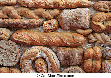 Variety of bread - Variety of fresh yummy bread resting on...