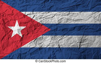Flag of Cuba with old texture Vector illustration