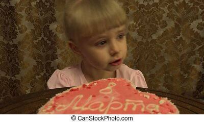 Girl Celebrates 8 March - Cute Girl Celebrates 8 March,...