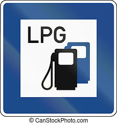 LPG Gas Station - German traffic sign: Petrol station with...