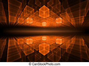 Orange Cubic Geometrical Horizon With Rays Of Light