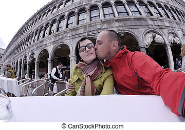 happy couple in venice - happy young romantic couple in love...