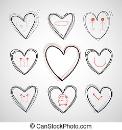vector hand drawn  heart - vector hand drawn heart of love