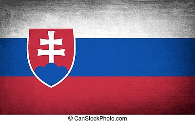 Flag of Slovakia with old texture Vector illustration