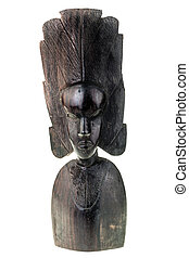 African artifact - an ancient african black wood carved...