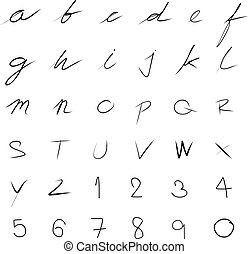 vector handwriting font - handwriting font set for use