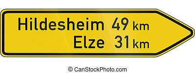 Direction Sign On Important Road - German direction sign on...