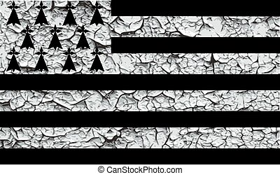 Flag of Brittany with old texture. Vector illustration