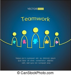 A team of people with puzzles. Teamwork business concept....