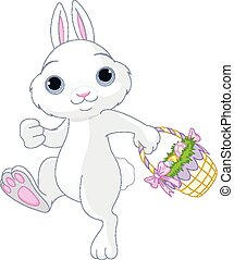 Easter Bunny - A cute Easter bunny holds full basket of...