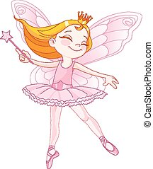 Cute fairy ballerina - Illustration of little cute dancing...