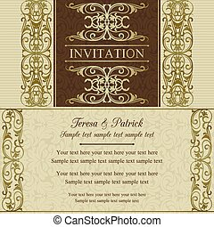 Baroque wedding invitation, brown - Antique baroque wedding...