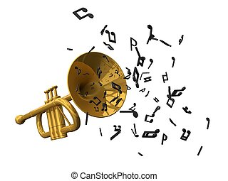 golden trumpet and notes