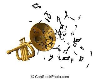 dourado, trompete, e, notas,