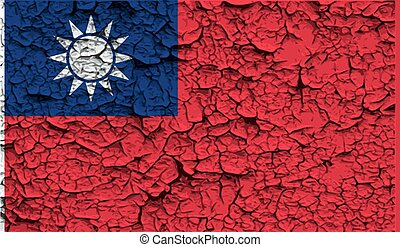Flag of Taiwan with old texture Vector illustration